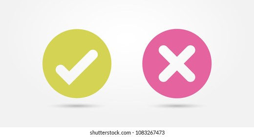 Vector pink and green circle icon check mark icon isolated on transparent background. Approve and cancel symbol for design project. Flat button yes and no. Sticker good and bad