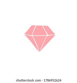 Vector pink hand drawn doodle sketch diamond isolated on white background
