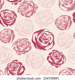 Vector pink inspired seamless floral pattern with roses