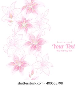 Vector  pink lily  flowers vertical frame pattern background . Invitation or greeting card design.Vector illustration