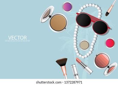 vector pink lipstick and white cosmatic product on light blue background.make up product.cosmetic product.summer concept