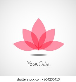 Vector pink lotus logo design template on grey background with yoga center text