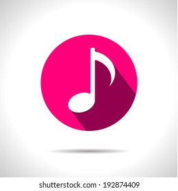 Vector pink music icon. Eps10