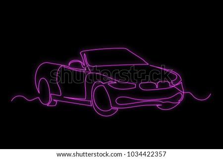 Vector Pink Neon Car Luxury Car Stock Vector Royalty Free