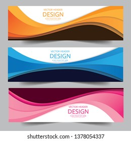 Vector pink, orange, blue abstract swoosh background. Abstract corporate business banner web template, horizontal advertising business banner layout template flat design set.