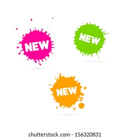 Vector Pink, Orange and Green Stickers - Stains With New Title