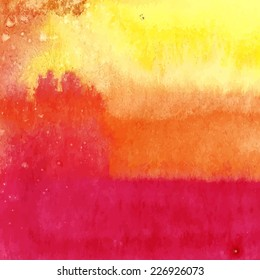 Vector pink orange yellow stripes watercolor texture. Grunge template for your design. Composition for scrapbooking.