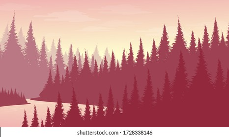 Vector Pink Pine Forest with River,landscape background,foggy and mist concept design.