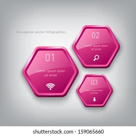 Vector pink plastic hexagons infographic sequence