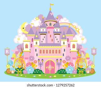 Vector pink princess magic castle