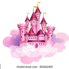 Vector pink princess magic castle.