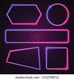 Vector of pink and purple gradient. Geometry neon banner design.