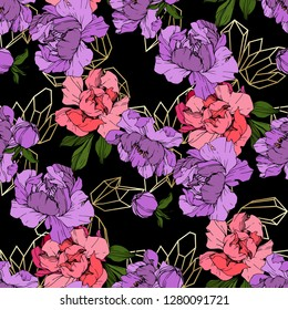 Vector Pink and purple peony. Floral botanical flower. Wild spring leaf wildflower isolated. Engraved ink art. Seamless background pattern. Fabric wallpaper print texture.