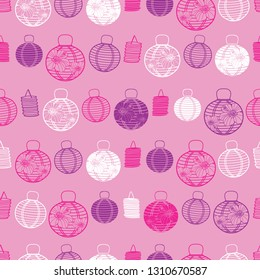 Vector pink, purple and white paper lanterns seamless pattern background. Perfect for fabric, scrapbooking, wallpaper projects.