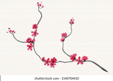 Vector Pink red hand drawn fantasy Chinese plum flowers and blooming branches in Japanese folk painting style Sumi-e on a rice paper.Batik, book cover, tee shirt print, Oriental New Year greeting card