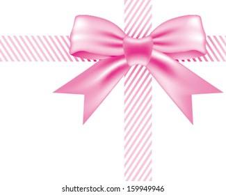 Vector pink ribbon and bow knot