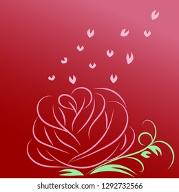 A vector of pink rose flower and leaf in heart shape float in the air; draw by art brush in valentine day concept.