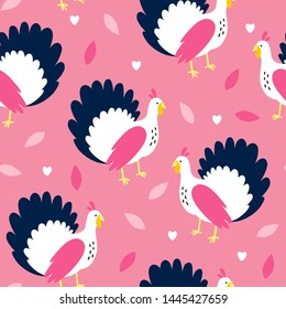 Vector pink seamless pattern with cute turkey. Repeated texture with birds for fall season. Hand drawn print for fabric and wrapping paper. Thanksgiving day symbol.