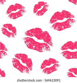 Vector pink seamless pattern on white background. Lips prints