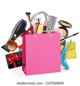 Vector Pink Shopping Bag isolated on white background