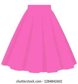 Vector pink skirt template, design fashion woman illustration. Women bubble skirt