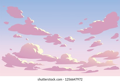 Vector pink sky clouds. Anime clean style. Background design