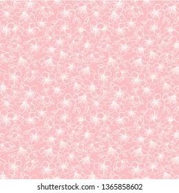 Vector pink small cherry blossom sakura flowers seamless pattern background texture. Surface pattern design.