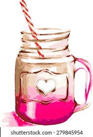 Vector pink smoothie jar illustration