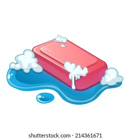 Vector pink soap bar in water