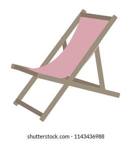 Vector pink sun lounger. Beach chair.