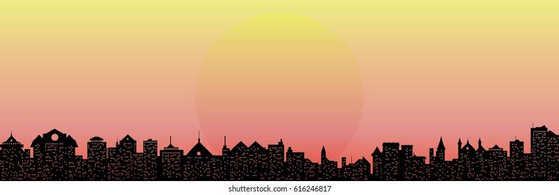 vector pink sunset and cityscape silhouette illustration