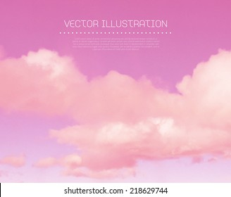Vector pink sunset sky with clouds