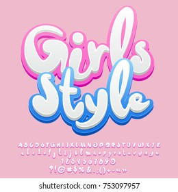 Vector pink sweet banner Girls style. Set of soft Alphabet letters, Numbers and Symbols.