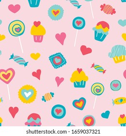 Vector pink sweet love colorful candy seamless pattern background. Perfect for kids fabric, wallpaper, giftwrap, bedding, bags, clothes, scrapbooking art and packaging design projects