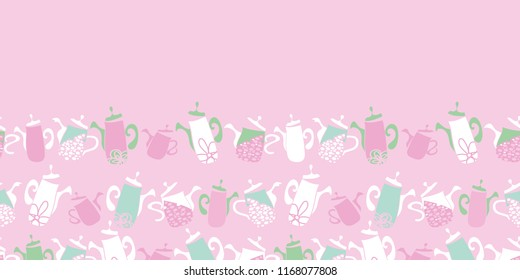 Vector pink teapots Garden Tea Party seamless pattern border. Perfect for fabric, scrapbooking, giftwrap, wall paper projects, stationary