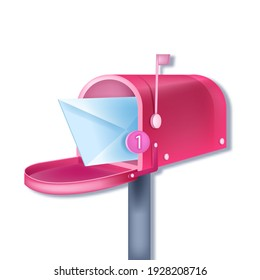 Vector pink traditional mailbox email notification, new letter concept isolated on white, closed envelope. Post delivery 3D illustration, alert, number one. Message notification in internet mailbox