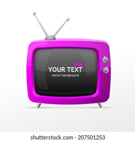 Vector pink TV blank on white background