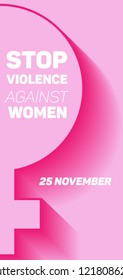 Vector pink vertical poster with female symbol for International Day for the Elimination of Violence Against Women