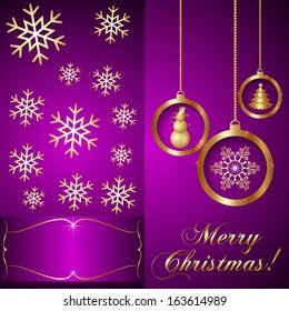 Vector Pink Violet Christmas Invitation Card