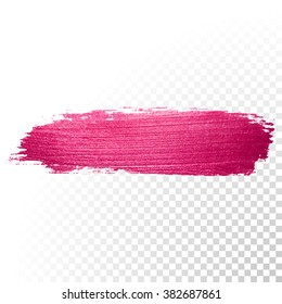 Vector pink watercolor brush stroke. Abstract varnish splash trace shape. Glossy red oil paint smear line on transparent background