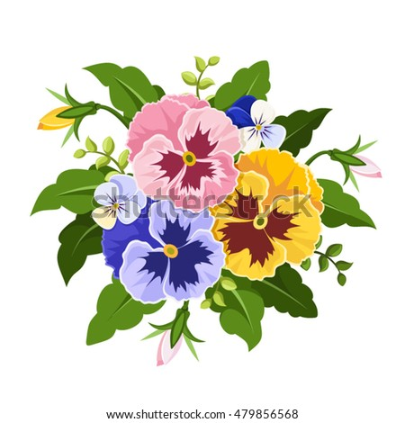 Vector pink yellow purple pansy flowers stock vector royalty free vector pink yellow and purple pansy flowers isolated on a white background mightylinksfo