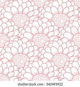 Vector pink zinnia flower seamless pattern.