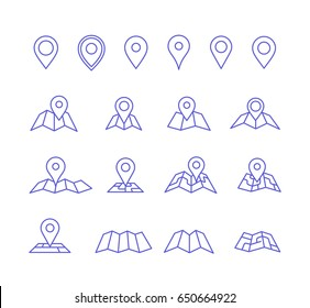 Vector pins and maps. Make your own custom location pin icon. Navigation and route elements. Vector icons for contact web page