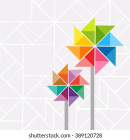 Vector pinwheel elements with rainbow colors, on grey background
