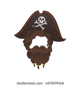 Vector pirate captain hat with crossbones, skull, and beard photo booth prop, party costume scrapbooking decoration. Birthday, halloween party mask for kids, selfie props design