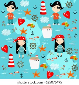 Vector pirate marine background. Teenagers. Can be printed on fabric. pirate Party. birthday. Children in pirate costumes.