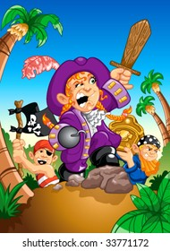 Vector - Pirate parade! A colorful, fun illustration of children playing pirates.