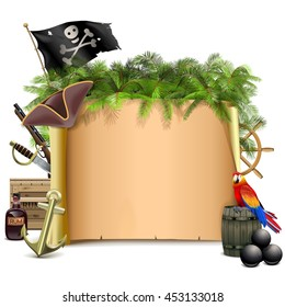Vector Pirate Scroll with Palm