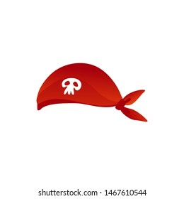 Vector pirate seaman hat, headscarf with skull and crossbones symbol. Traditional nautical accessory. Jolly roger sign at sailors headware. Isolated illustration