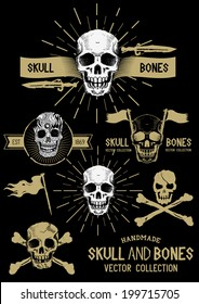 Vector Pirate Skull and Bones Set with various design elements.